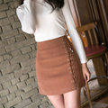 Autumn lace up skirt Winter 2016 cross high waist suede leather skirt Zipper split bodycon short skirts womens casual skirts