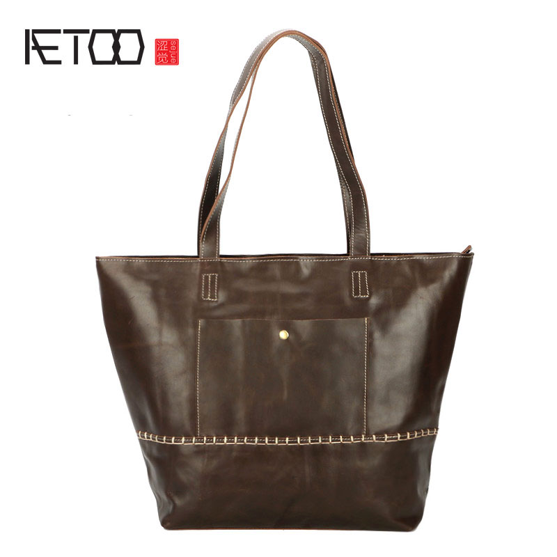AETOO The new first layer of leather handbags leather fashion shoulder bag Europe and the United States big tote bag retro handb aetoo europe and the united states casual leather handbags soft leather cowhide pure mori department of hong kong retro wide sho