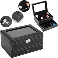 FANALA 10 Slots Watch Box Jewelry Box Mens Womens Watch Organizer Lockable Display Case Holder with Real Glass Top Faux Leather