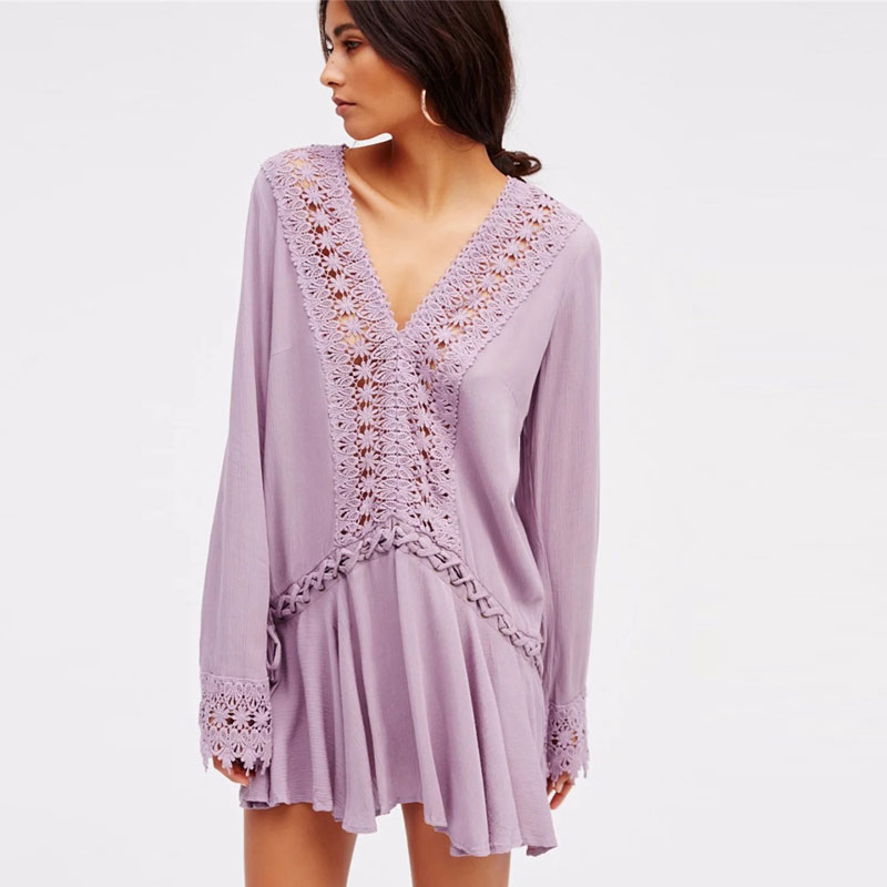 Europe Brand Deep V Neck Lace Up Dress Hollow Out Splice Bandage Loose Solid Hippie Mini Dress Beach Crochet Floral Laces Dress