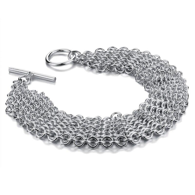 8facdb26e973 Moda mujer pulseras anchas plata sólida 25mm 20 cm borla pulsera para tirar  925 plata esterlina pulsera trenzada joyería al por mayor en Pulseras del  ...