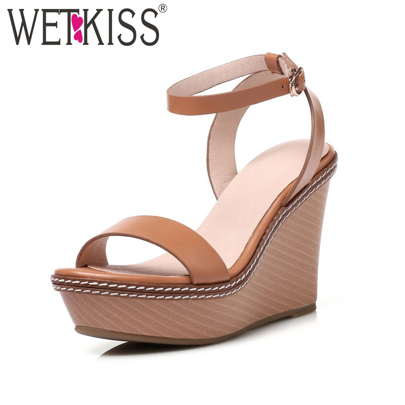 WETKISS Ankle Strap High Heels Sandals Women New Summer Sewing Platform Ladies Shoes Open Toe Wedges Buckle Cow Leather Footwear e toy word summer platform wedges women sandals antiskid high heels shoes string beads open toe female slippers