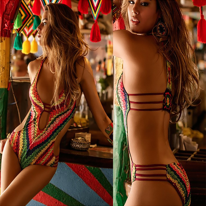 2017 Serpentine Print Sexy Women Brazilian One Piece Monokini High Waist Halter Swimwear Trikini Bathing Suit Swimsuit Bodysuit