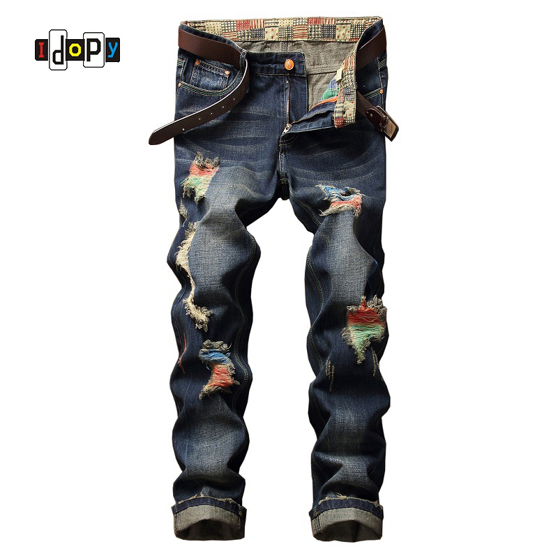 Fashion Mens Vintage Washed Ripped Jeans Mens Distressed Color Painted Denim Pants Straight Fit Hip Hop Jeans For Men
