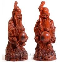 The God of Longevity Solid Wood Carving Handicrafts Rosewood Desktop Decorations Statues Art Crafts Home Desk Table Sculptures
