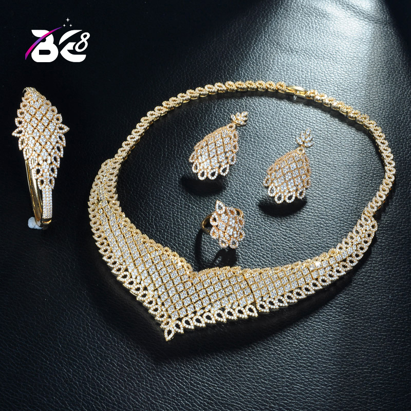 Be 8 Fashion Women's Wedding Bracelet Necklace Jewelry Set AAA Cubic Zirconia Gold Color Ring Earrings Bijoux Femme S292