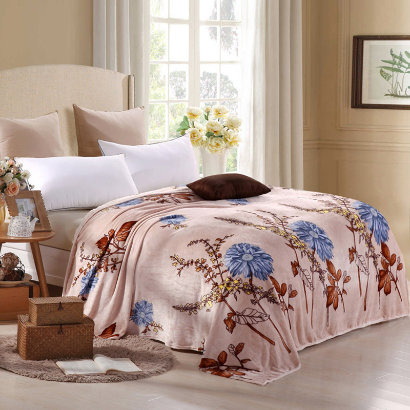 Vintage Soft Flannel Throw Blanket Pastoral Floral Design Throws On Bed Sofa  120x200cm/150x200cm/