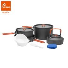 Огонь Клен Feast4 Открытый Отдых Туризм посуда альпинизмом Кулинария Пикник 2 pots 1 сковорода 1 чайник комплект Складная ручка FMC-F4