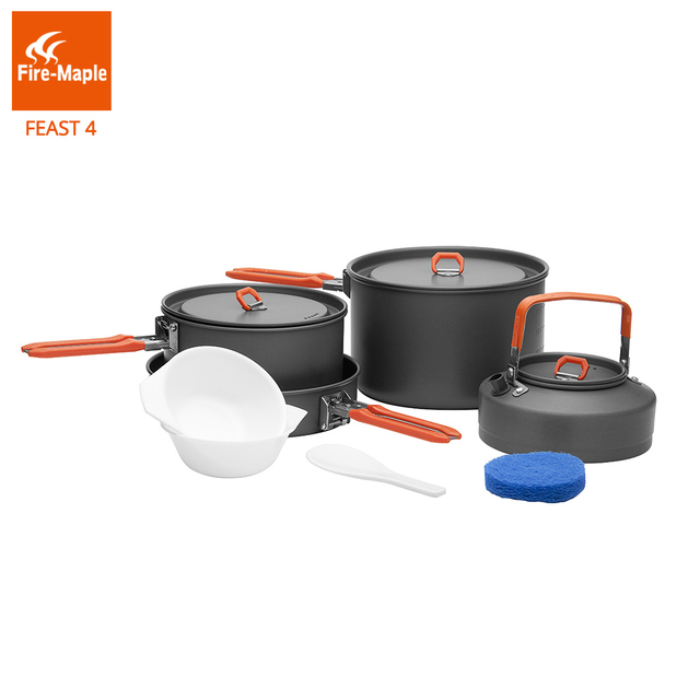 Fire Maple Frypan Outdoor Camping Hiking Cookware Backpacking Cooking Picnic Set Foldable Handle Feast 4 FMC-F4