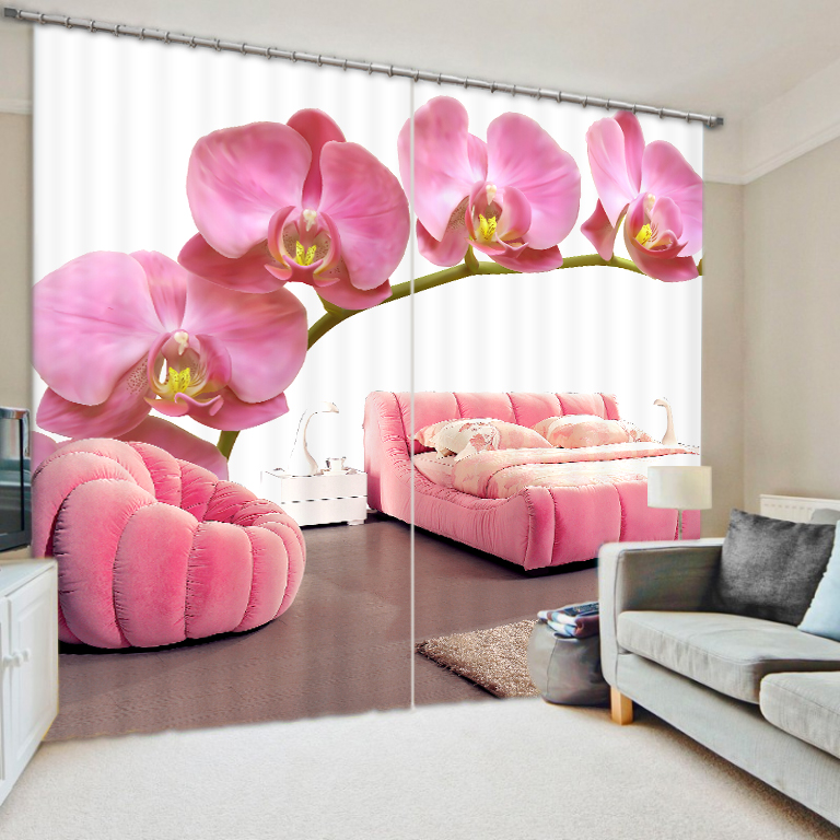 Pink Style Flowers 3D Painting Blackout Curtains Office Bedding Room Living Room Sunshade Window Bedding Set Custom-made SizePink Style Flowers 3D Painting Blackout Curtains Office Bedding Room Living Room Sunshade Window Bedding Set Custom-made Size