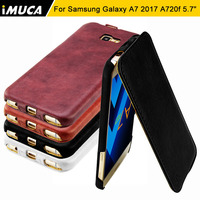 For Samsung Galaxy A7 2017 Case Flip Leather Cases IMUCA Anti Knock Phone Shell Funda For