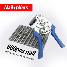 Fastening Clamp  Installation Poultry Cage Plier & 600 Nails Chichen Rabbit Fox Bird Dog Kit Toolp35