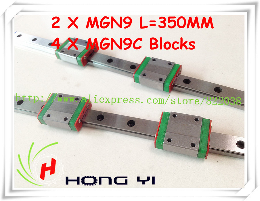 Square linear guide 2 X  MGN9 L=350mm with 4pcs MGN9C linear blocks(can be cut any length)