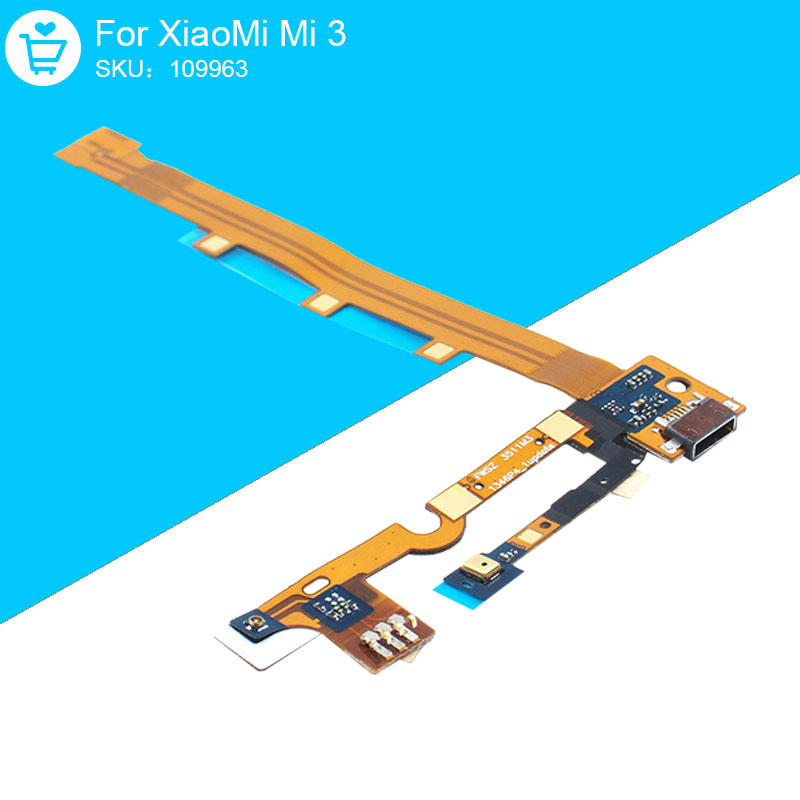WCDMA For XiaoMi Mi 3 Mi3 USB Flex Cable Charging Port Dock Connector With Microfone Microphone Replacement Parts Original
