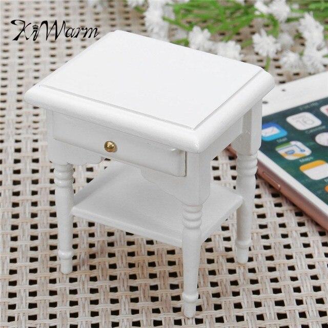 Kiwarm mini 1:12 Dollhouse miniatura Muebles madera blanca mesa de ...