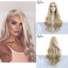 sylvia blond / vit blandad färg lös våg syntetisk spets främre peruker blont kropp vågigt värmebeständigt fiber hår för kvinna