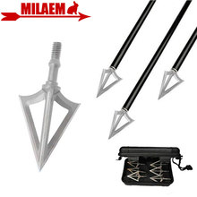Archery Blade Arrowhead Fixed 3 Broadheads Stainless Steel Target Arrow Point Tips Shooting Hunting Accessories