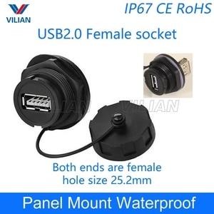 Image 1 - USB أنثى المقبس التوصيل لوحة محول تركيب USB 2.0 3.0 موصل مقاوم للمياه IP67 تمديد الحبل موصل مع غطاء