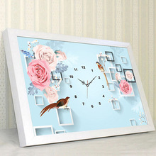 5D Round Diamond Painting Clock ,Roses, Flowers, Diamond Embroiderey, DIY Wall Decal, Living Room Mural Decoration
