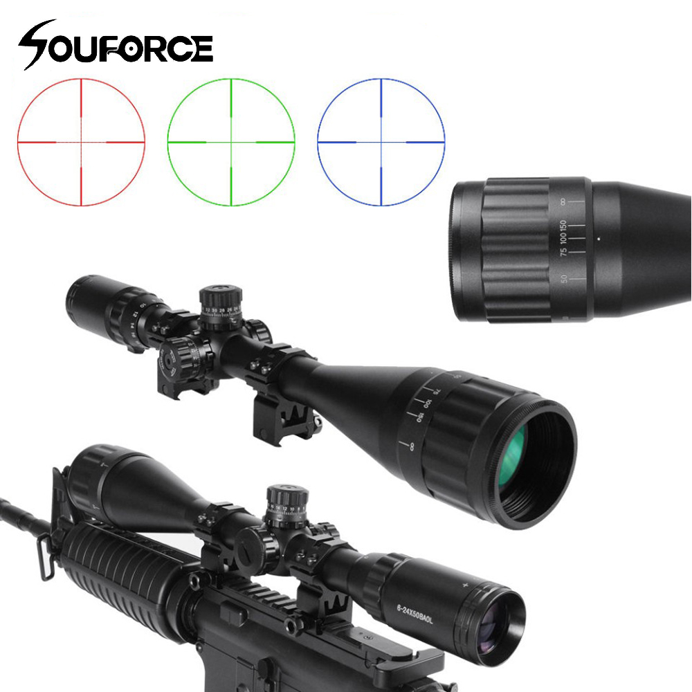 6-24x50BAOL Riflesope Mil-dot Reticle Red Green Blue Illuminated Reticle with Etched Glass for Rifle Airsoft Scope Hunting 4x 30mm red green mil dot reticle rifle scope with gun mount black 3 x ag13 1 x cr2032