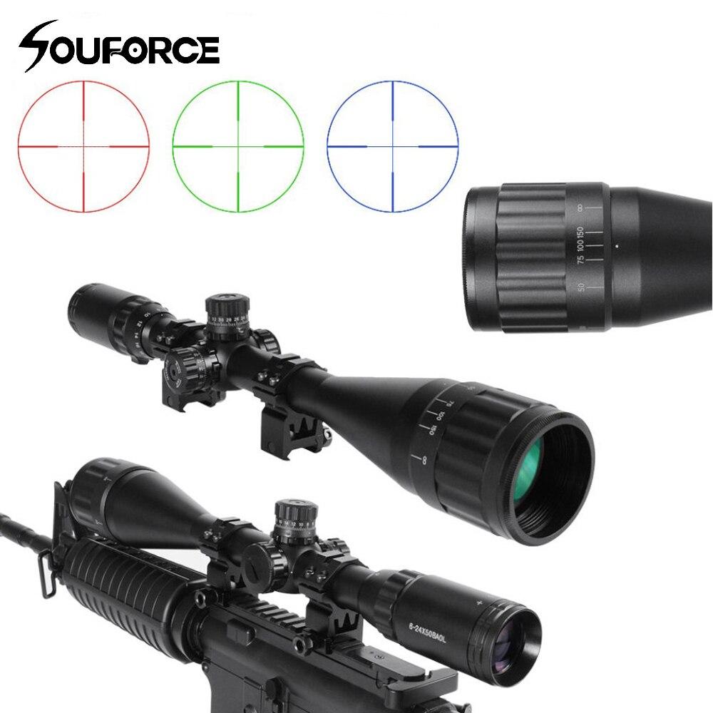 6-24x50BAOL réticule Riflesope Mil-dot réticule lumineux rouge vert bleu avec verre gravé pour fusil Airsoft portée chasse