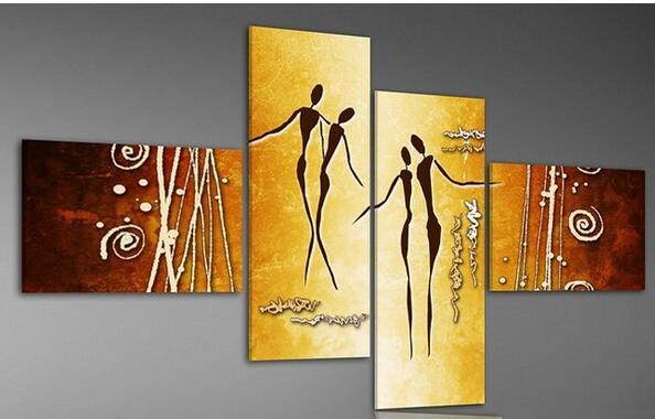 100% handmade 4 Piece Wall Art Modern Abstract african dancer Oil ...