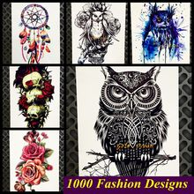 3D Fashion Wise Owl Removable Tattoo Sticker Women Large Body Arm Sleeve GB301 Men Shoulder Fake Tattoo Design Henna Tatoos