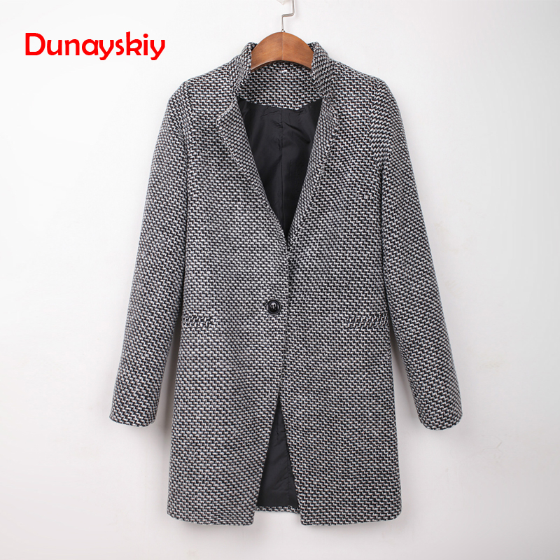 Dunayskiy Women Autumn Winter Fashion Wool   Trench   Single Breasted Slim Type Gray Long Sleeve Long Casual Coat   Trench   Plus Size