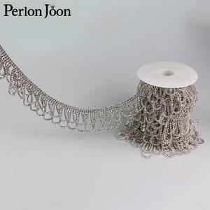 Image 3 - 5yards Crystal tassel Trimming Motif Rhinestone trim Chain for Wedding Dress Decoration  Appliques sew on Clothing Curtain