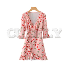 CUERLY women cross V neck cherry print ruffled wrap dress A line three quarter sleeve female stretchy sweet mini dresses