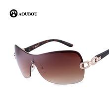 AOUBOU Luxury Rimless Sunglasses Women Brand Designer With Chain Logo Glasses Alloy Gun Sun Glasses Ladies Oculos Feminino AB703