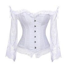 Sapubonva Korse Üstleri Kadınlar için Kollu Vintage Stil Victoria Retro Burlesque Lace Korse ve Bustiers Yelek Moda Beyaz