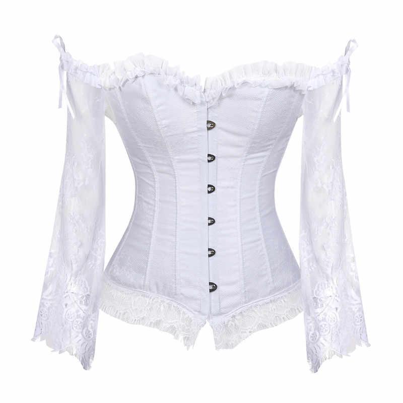 Sapubonva корсет Топы для женщин с рукавами винтажный Стиль Викторианский Ретро Бурлеск кружевной корсет и бюстье жилет модный белый