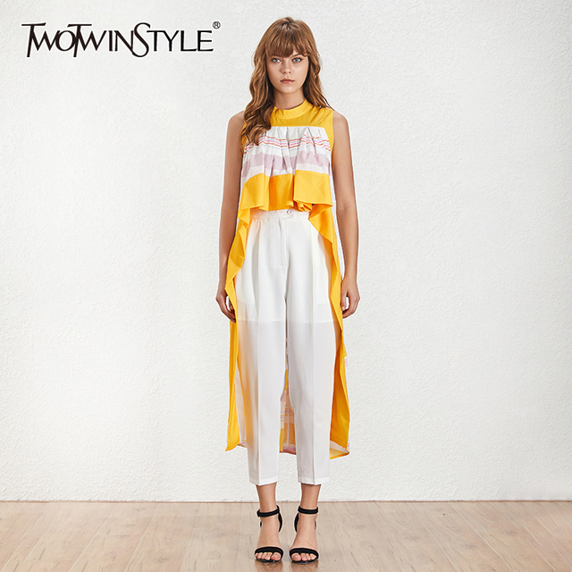 Deuxtwinstyle rayé Patchwork chemises Blouse femmes Stand sans manches Hit couleur hauts asymétriques femme 2019 décontracté mode