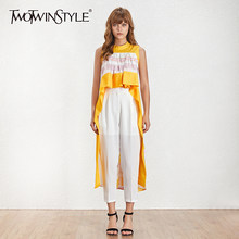 TWOTWINSTYLE Striped Patchwork Shirts Blouse Women Stand Sleeveless Hit Color Asymmetrical Tops Female 2019 Casual Fashion(China)