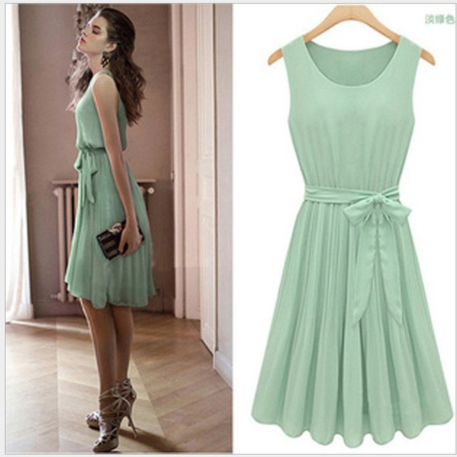 fd238637f8 Casual Bohemian Pleated Knee Length Sleeveless Mint Green Dresses Vestidos  De Chiffon Casual Free Shipping Women Summer Dress
