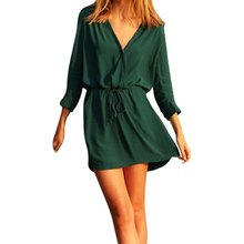 Sexy frauen langarm tiefem v-ausschnitt cocktail party dress outwear