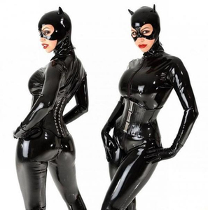 Sexy Women Catwoman Costume Black Faux Leather Catsuit Fetish Cosplay Full Cover Jumpsuit Flexible Zipper Bodyusit With Mask