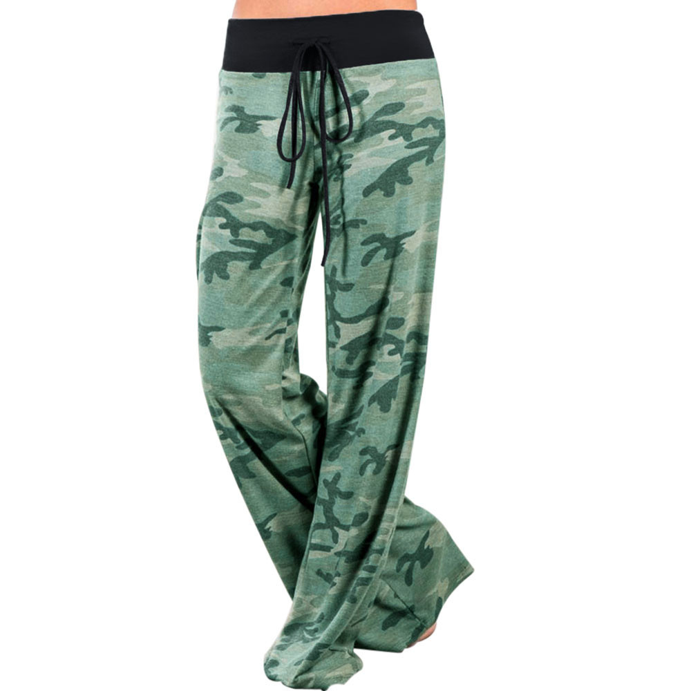 Camouflage Print Sleep Bottoms Women Pants Military Lace Up Waist Drawstring Wide Legs Trousers Loose Pijama Plus Size B88394