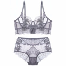 Floral embroidery sexy lingerie lace female intimates ultrathin cup women fashion bra set transparent bras tall waist panties