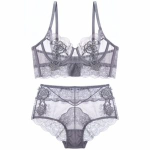 Image 1 - Floral embroidery sexy lingerie lace female intimates ultrathin cup women fashion bra set transparent bras tall waist panties