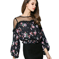 {Guoran } Off Shoulder women floral printed chiffon blouses 2017 summer new sexy chiffon shirts female tops femme clothings