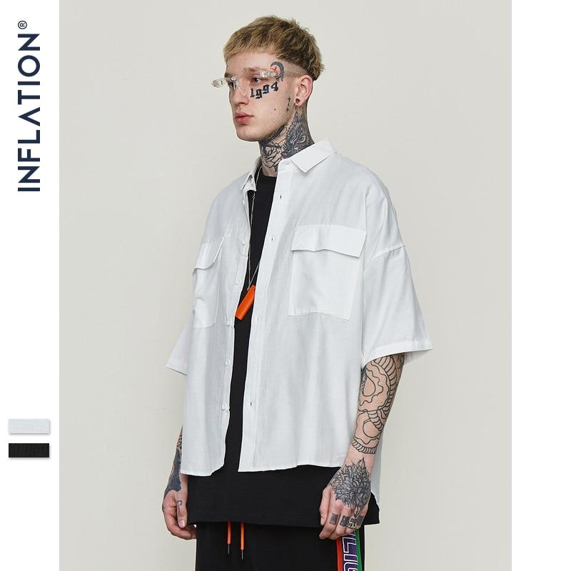 INFLATION Large Pocket Mens Shirts Summer Fashion Men Shirt Short Sleeve Casual Shirts Mens Clothing High Street Style 8357S