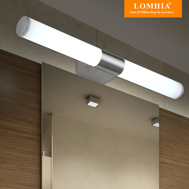 Contemporary stainless steel lights bathroom led mirror light vanity ...