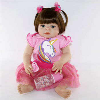 "Bebe doll 23""57cm full silicone reborn baby girl dolls toys For child xmas gift  juguetes boneca reborn NPK doll"