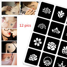 12 pics Henna DIY Party Tattoo Stencil Jagua Drawing Templates Airbrush Painting Mehndi Body Art Small Flash Stencils C36