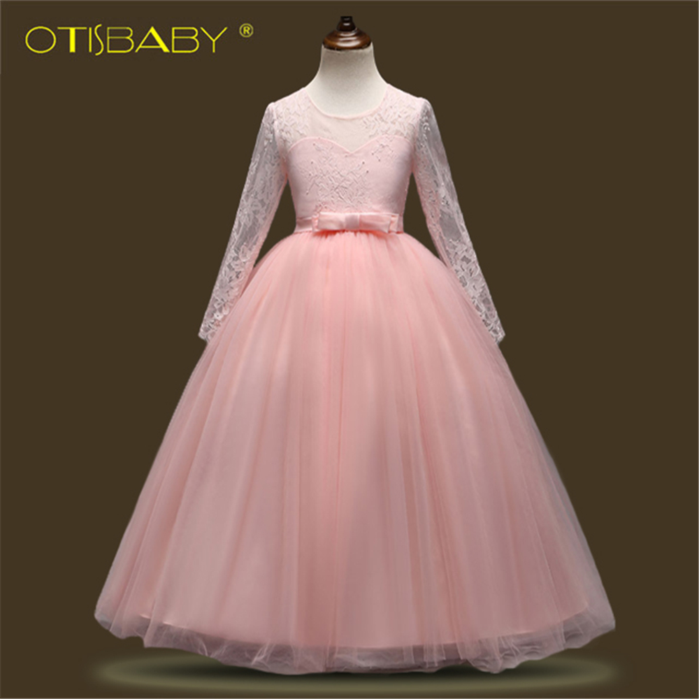OTISBABY A-Line Formal Embroidered Mesh Flower Girl Dresses for Children Clothing Girls Party Costume Wedding Christening Gowns