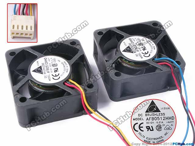 Delta Dual AFB0512HHD 4J1Y DC 12V 0.21A 5-wire 50x50x20mm Server Square Fan free shipping for delta afc0612db 9j10r dc 12v 0 45a 60x60x15mm 60mm 3 wire 3 pin connector server square fan