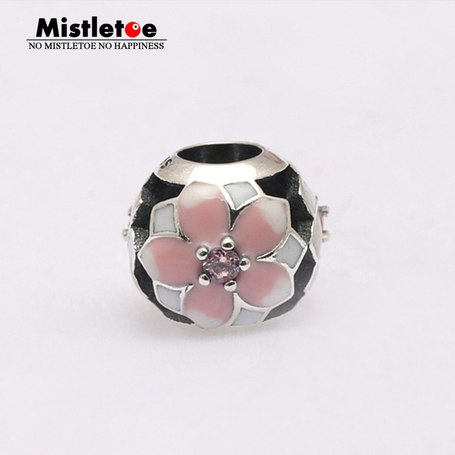 Dream 925 Sterling Silver Beads Pink Cubic Zirconia Charms Fashion Jewelelry Birthday Fit European Bracelet UxoDzE