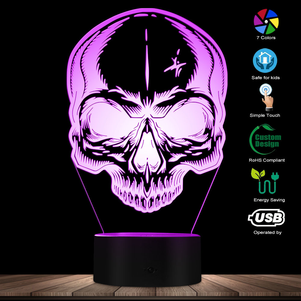 Horror Skull Head Desk Lighting Art Death Bone Skeleton Color Changing Night Lights Halloween Bedroom Decorative LED Table Lamp
